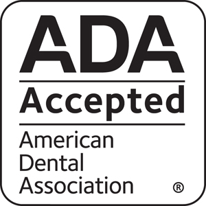 american dental association accepted white square logo