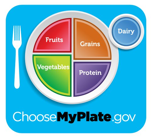 healthy diet plate showing the recommended fruits, vegtables, grains, protein an dairy